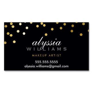 GLAMOROUS CONFETTI spot cute faux gold foil black Magnetic Business Card