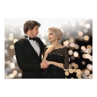 Glamorous Couple with Twinkling Bokeh Photo