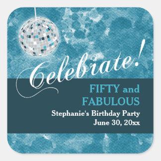 Glamorous Disco Ball 50th Birthday Party Square Sticker