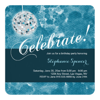 Glamorous Disco Ball Birthday Party 13 Cm X 13 Cm Square Invitation Card