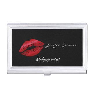 Glamorous fancy red lips black business card holder