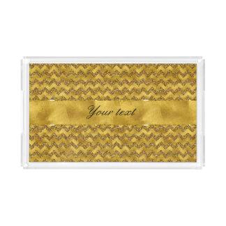 Glamorous Faux Gold Glitter Chevrons