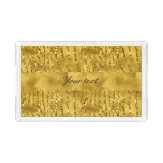 Glamorous Faux Gold Glitter Zebra Stripes