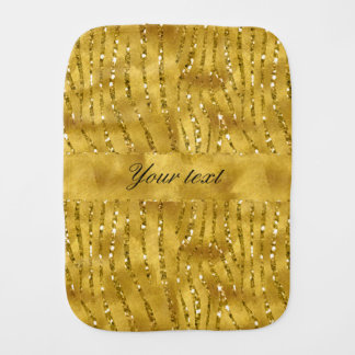 Glamorous Faux Gold Glitter Zebra Stripes Burp Cloth