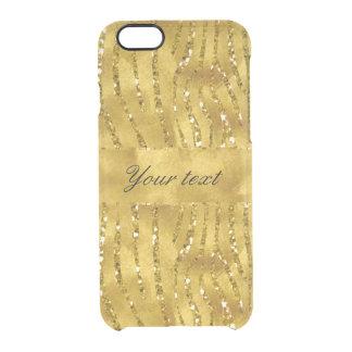 Glamorous Faux Gold Glitter Zebra Stripes Clear iPhone 6/6S Case