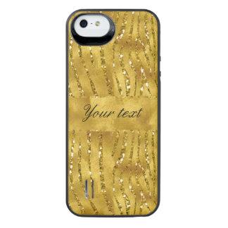 Glamorous Faux Gold Glitter Zebra Stripes iPhone SE/5/5s Battery Case