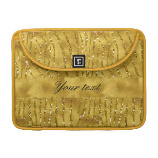 Glamorous Faux Gold Glitter Zebra Stripes Sleeve For MacBook Pro