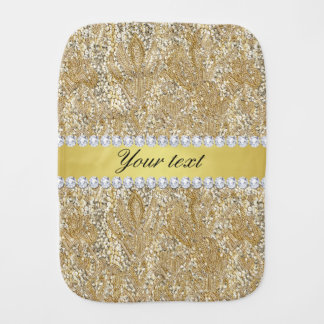 Glamorous Faux Gold Sequins and Diamonds Burp Cloths