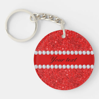 Glamorous Faux Red Sequins and Diamonds Double-Sided Round Acrylic Key Ring