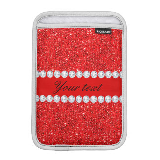 Glamorous Faux Red Sequins and Diamonds iPad Mini Sleeve