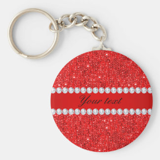 Glamorous Faux Red Sequins and Diamonds Key Ring
