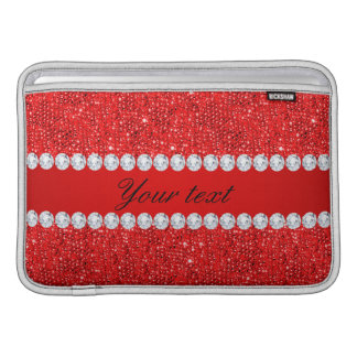Glamorous Faux Red Sequins and Diamonds MacBook Air Sleeve