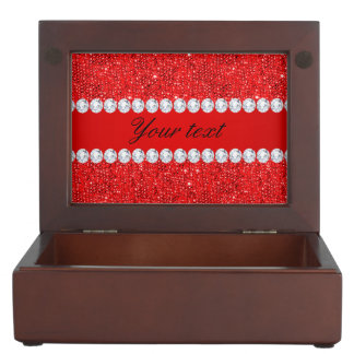 Glamorous Faux Red Sequins and Diamonds Memory Boxes