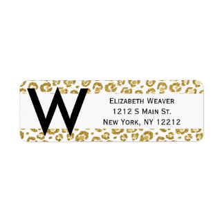 Glamorous Faux Sparkly Gold Leopard Return Address Label