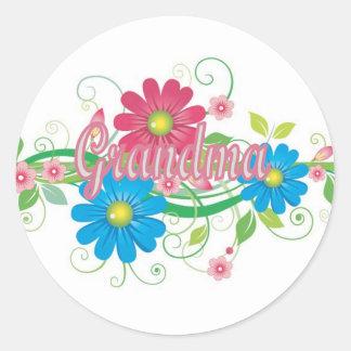 Glamorous flowers Grandma Round Sticker