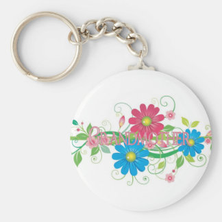 Glamorous flowers Grandmother Basic Round Button Key Ring