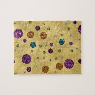 Glamorous Glitter Polka Dots Gold Jigsaw Puzzle