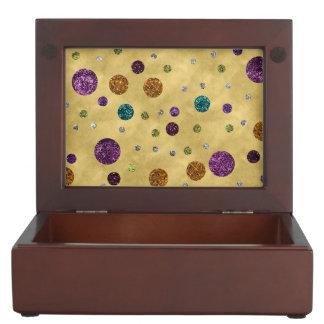 Glamorous Glitter Polka Dots Gold Keepsake Box