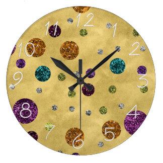 Glamorous Glitter Polka Dots Gold Wall Clock