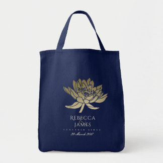 GLAMOROUS GOLD BLUE BLACK LOTUS SAVE THE DATE GIFT TOTE BAG