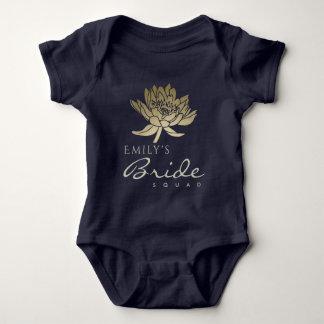 GLAMOROUS GOLD BLUE LOTUS BRIDE SQUAD MONOGRAM BABY BODYSUIT