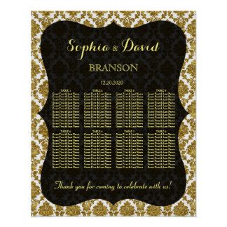 Glamorous Gold Damask Wedding Seating Chart