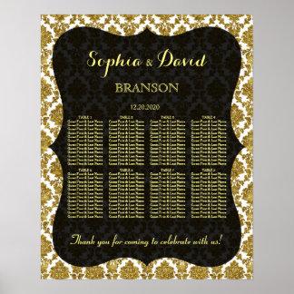 Glamorous Gold Damask Wedding Seating Chart Poster