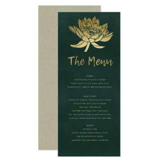 GLAMOROUS GOLD DARK GREEN LOTUS FLORAL MENU CARD