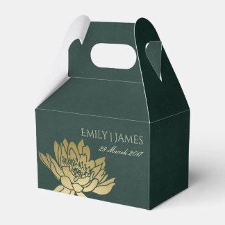 GLAMOROUS GOLD DARK GREEN  LOTUS FLORAL MONOGRAM FAVOUR BOX