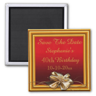 Glamorous Gold Frame & Faux Bow 40th Birthday Magnets