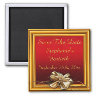 Glamorous Gold Frame & Faux Bow Fortieth Square Magnet