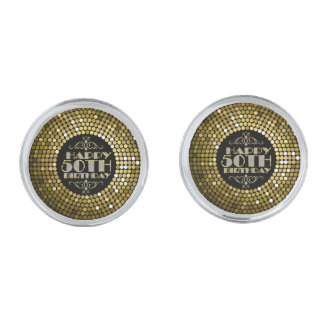 Glamorous Gold Glitter Happy 50th Birthday Silver Finish Cuff Links