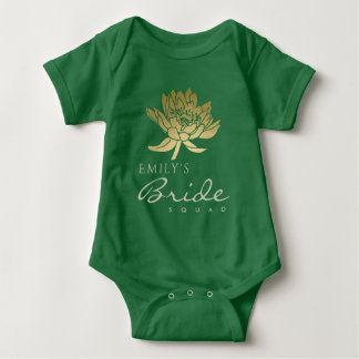 GLAMOROUS GOLD GREEN LOTUS BRIDE SQUAD MONOGRAM BABY BODYSUIT