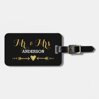 Glamorous Gold Heart Arrow Black Wedding Mr & Mrs Luggage Tag