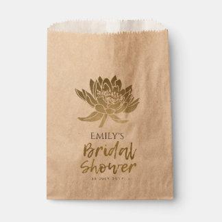 GLAMOROUS GOLD KRAFT LOTUS FLORAL BRIDAL SHOWER FAVOUR BAG