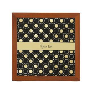 Glamorous Gold Polka Dots Black Desk Organiser