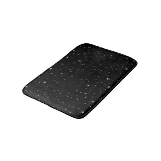 Glamorous Gold Stars on Black Background Bath Mat