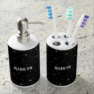 Glamorous Gold Stars on Black Background Soap Dispenser And Toothbrush Holder