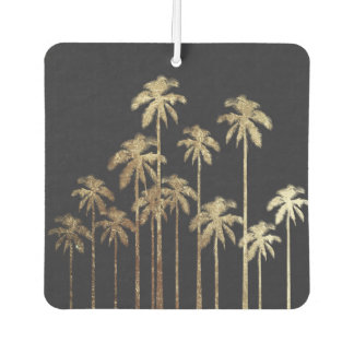 Glamorous Gold Tropical Palm Trees on Black