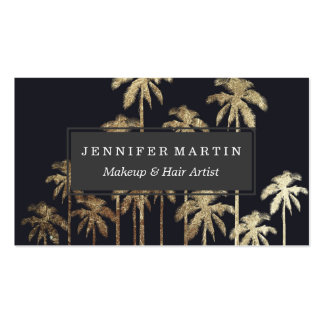 Glamorous Gold Tropical Palm Trees on Black Pack Of Standard Business Cards