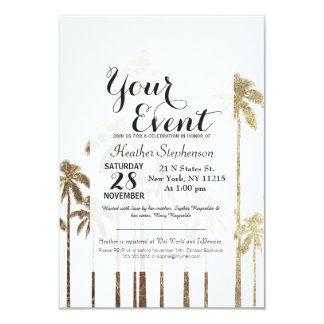 Glamorous Gold Tropical Palm Trees on White Card