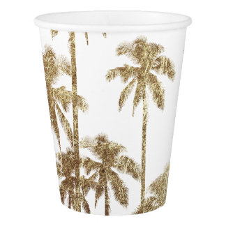 Glamorous Gold Tropical Palm Trees on White Paper Cup