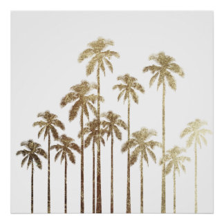 Glamorous Gold Tropical Palm Trees on White Poster