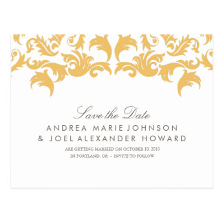 Glamorous Gold Wedding Save the Date Postcard