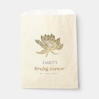 GLAMOROUS GOLD WHITE LOTUS FLORAL BRIDAL SHOWER FAVOUR BAG