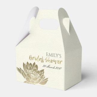 GLAMOROUS GOLD WHITE LOTUS FLORAL BRIDAL SHOWER FAVOUR BOX