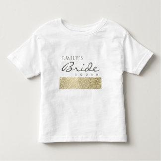 GLAMOROUS GOLD WHITE MOSAIC BRIDE SQUAD MONOGRAM TODDLER T-Shirt