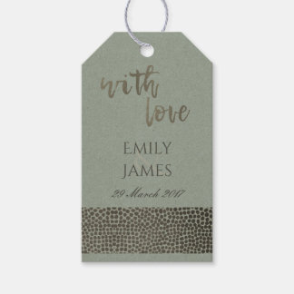 GLAMOROUS GREY COPPER SILVER DOTS MOSAIC MONOGRAM GIFT TAGS