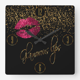 Glamorous Hot Pink Lips and Gold Confetti Wall Clock