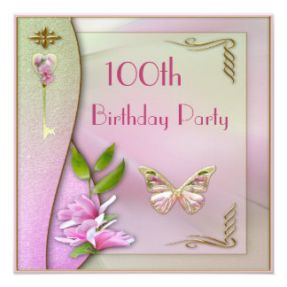 Glamorous Key, Magnolia & Butterfly 100th Birthday 13 Cm X 13 Cm Square Invitation Card